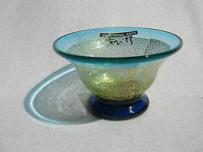 """Hizen Bidoro """"Pale Blue Sake Cup with Golden Leaves""""(Handcrafted in Saga)"""