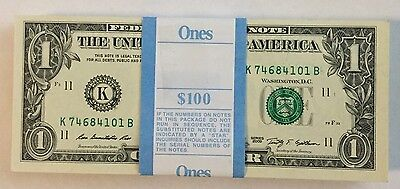 100 Pack of 2009 Consecutive $1 Unc Paper Currency Money Notes Dallas (K)