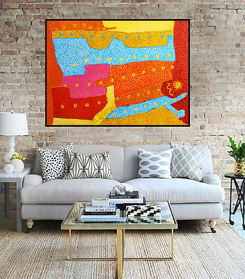 Huge contemporary abstract dot painting by Anna Narnina, 120cm by 85cm G031