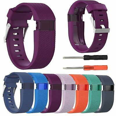 Silicone Wristband Band Strap Bracelet For Fitbit Charge HR Tracker Large w/Tool