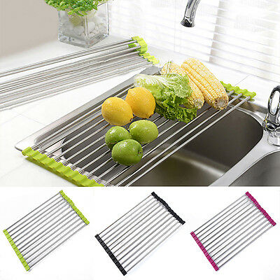 S/L Stainless Steel Over Sink Folding Roll Up Drain Drying Shelf Rack Holder