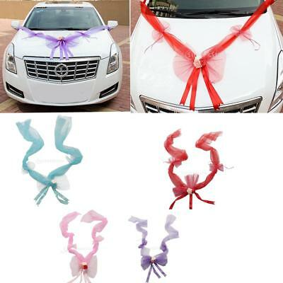 Wedding Car Decorations kit Ribbons Flower Bow Garland Decoration 4 Colors