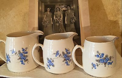 PRETTY SET OF VINTAGE BURLEIGH WARE ENGLAND GRADUATED JUGS Blue & White Flowers