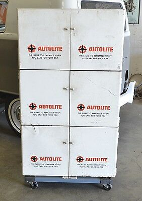 Vintage Original Autolite Sign Ford Tune Up Parts Cabinet Store or Shop Display