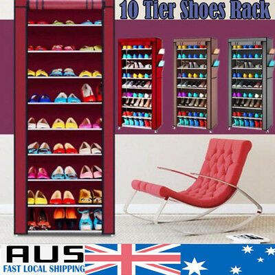 CHIC 10 Tier Shoes Cabinet Storage Organizer Shoe Rack Portable Wardrobe + Cover