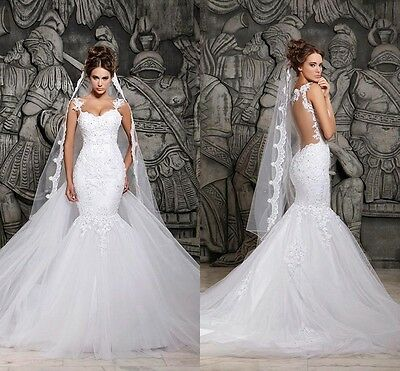 New White/Ivory Lace Wedding Dress Bridal Gown Mermaid Size 2 4 6 8 10 12 14 16