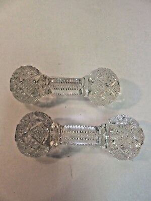 Antique Cut Glass Knife Rest Crystal Star Pattern Antique Pair