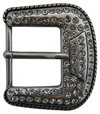 FRONHOFER Belt buckle in silver with strass stones 4 cm, Ladies, buckle