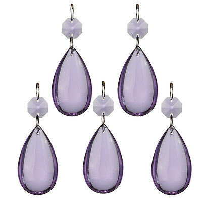 H&D 5X Purple Chandelier Glass Crystal Lamp Prisms Hanging Drops Pendant 50mm