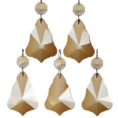 H&D 5PCS Maple Leaf Chandelier Glass Crystal Prism Parts Drops Pendants 50mm