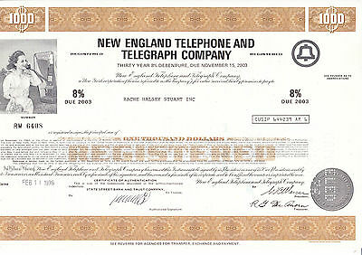New England Telephone and Telegraph Comp., 1976 - 1000 $ -