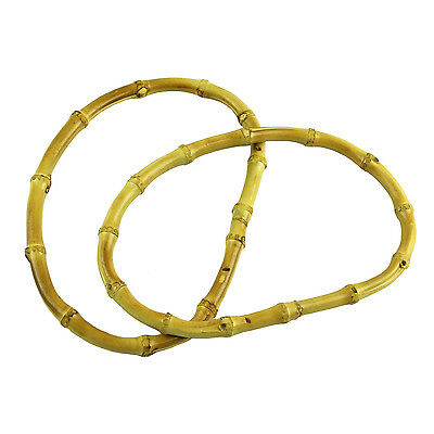 2Pcs Natural Bamboo Oval Round Bag Handle for Handcrafted Handbag TO503