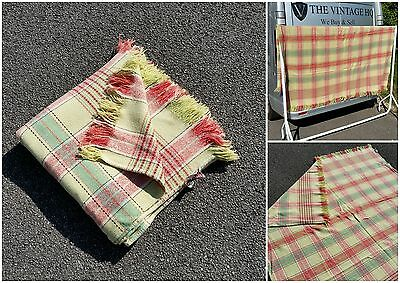 """Vintage Welsh Gwili Mills Wool Blanket Bedspread Quilt Throw Check Cover 78"""""""
