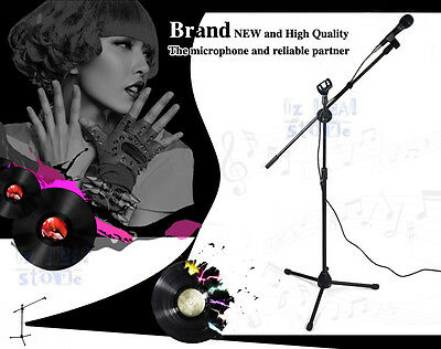 Microphone Stand Adjustable Mic Holder Tripod New Telescopic Boom 1 to 2 M AU