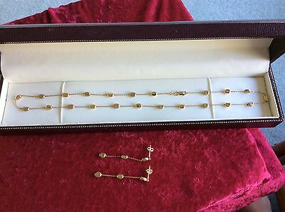 9ct K,CARAT GOLD BEADED NECKLACE AND MATCHING EARRINGS FINE QUALITY SET.  7.57 G