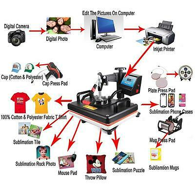 5in1 Digital Heat Press Machine Transfer Printer for T-Shirt Mug Hat Plate 12x15