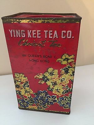 vintage red Ying Kee tea co. Orient tea jasmine hong kong rectangle tin canister