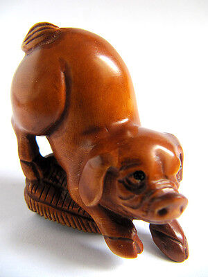 Y2580 - 2'' Nice Quanlity Hand Carved Boxwood Netsuke: Lovely Pig