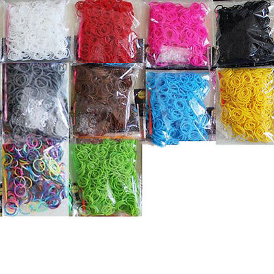 600* Rubber Band Bracelet Refill Kit Rainbow Loom Bands Colorful DIY 10 Colors