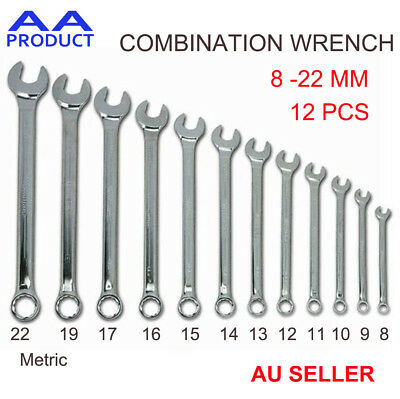 12 pcs Metric 8-22MM Spanner Set Combination Wrench Open/Ring