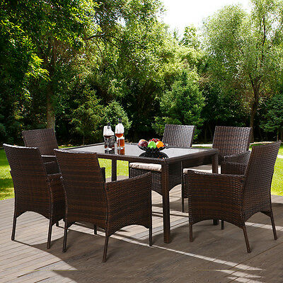 Rattan Garden Furniture Set Dinning Table and 6 Chairs Set Outdoor Patio Table