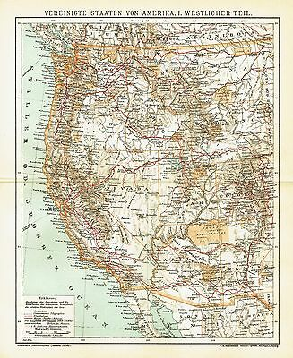 USA antique map 1903 -California Oregon Idaho Wyoming Nevada Arizona Mexico Utah