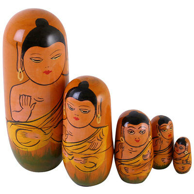 Buddha Design Set Of 5 Wooden Russian Dolls. New / packed.