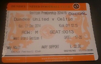 Dundee United v Celtic 21st Dec 2014 Football League Match Ticket