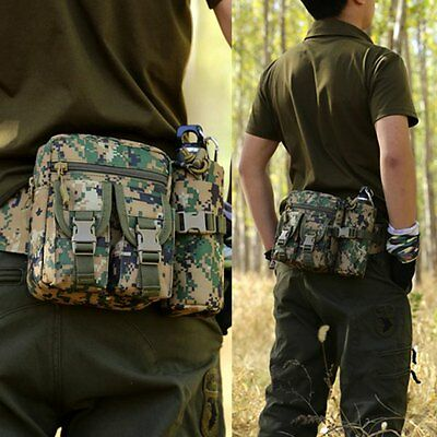 Tactical Military Men Travel Hiking Bag Shoulder Messenger Waist Belt Bum Bag UK