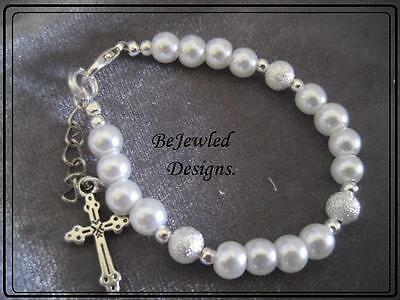 Baby Bracelet bangle Glass Pearls and  Charm