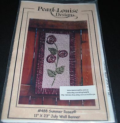 Pearl Louise Designs - 'Summer Roses' Wall Banner Pattern - 28 x 58cms