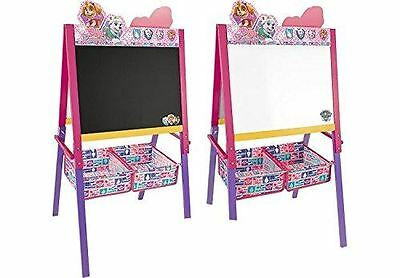 Paw Patrol Kids 2 in 1 Pink Easel Whiteboard Black Chalk Childrens Drawing Board