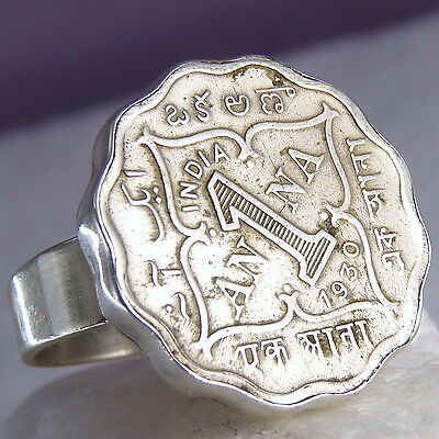 US 8 1/2 ~ 925 Stg Silver Antique Indian Coin Vintage Pinkie Thumb Finger Ring