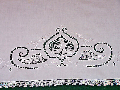 Exquisite Vintage Italian Figural Needlelace Linen Towel Cutwork Embroidery 1920