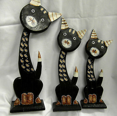 Set 3 Wooden Cats Handmade & Painted Fairtrade Striped/spotted Pattern