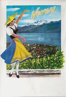 Original vintage poster VEVEY WINEMAKER GIRL LAKE ALPS c.1950