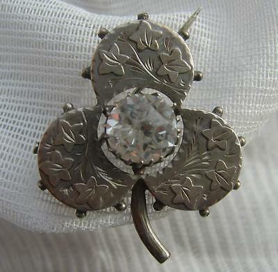 Antique VICTORIAN H/M Chester 1889 SILVER Shamrock Old Cut Diamond Paste Brooch