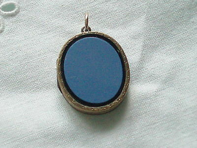 Antique Victorian Rolled Gold Sardonyx Photo Locket Pendant Fob