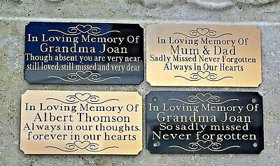 Personalised Solid Brass Bench Memorial Plaque Door Sign 85X45 Choice 2 Colours