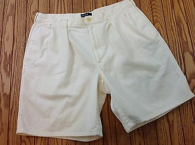 Polo By Ralph Lauren Vintage Made In USA White Pleaded Men's Shorts Size 36 VGC