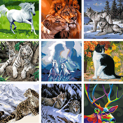 Animal DIY Digital Oil Painting Kit By Numbers On Canvas Unframed Home Decor