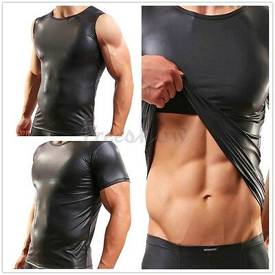 Sexy Mens Faux Leather Vest Muscle T-Shirt Undershirt Underwear Tee Top Clubwear