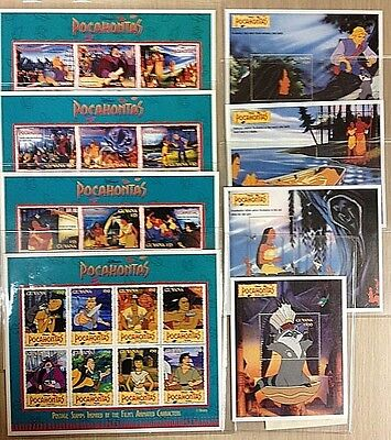 8 DISNEY POCAHONTAS Block Sheets Stamps   Cert. of Authenticity From Guyana