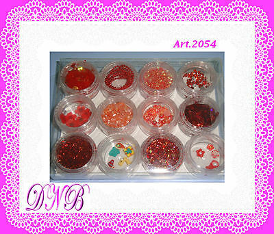 Set 12 Barattoli Decorazioni Nail Art Glitter Strass Brillantini 3D - 2054