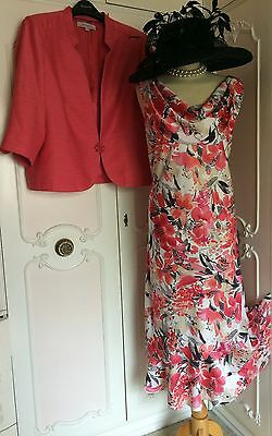 JACQUES VERT Coral Pink Dress & Jacket Suit Mother of the Bride Plus Size 22 24