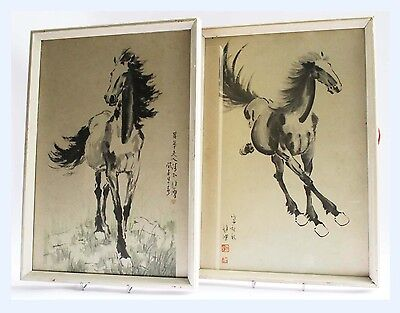 2 x Vintage Framed Prints Chinese Standing Horse Picture Pi Hung Tretchikoff Era