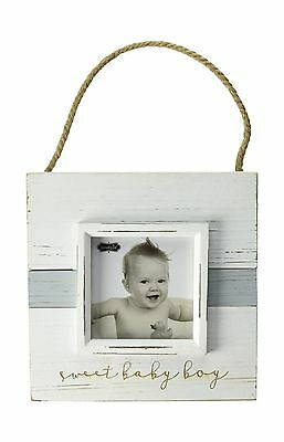 "Mud Pie Sweet Baby Boy Hanger Distressed Frame Nursery Dcor Blue 4"" x 4"""