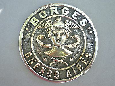 Antique Safe Plate Borges Buenos Aires 4 1/ inches aprox