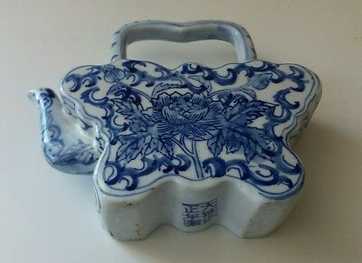 Vintage Chinese Butterfly Teapot Blue And White China Porcelain Floral