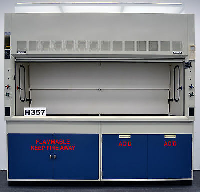 8' Fisher Hamilton Safeair Laboratory Fume Hood with Flammable & Acid Cabinets